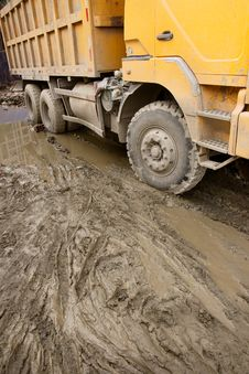 Free Tip Lorry Moving On A Muddy Road Stock Images - 20590224