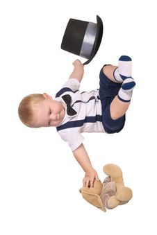 Baby Boy With Toy Rabbit And Cylinder Hat Royalty Free Stock Image