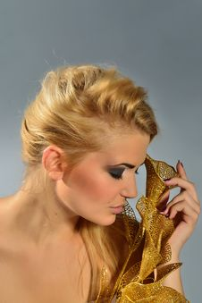 Free Blonde With Golden Calla Lily Stock Photo - 20592620