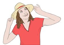 Free Girl In Red Shirt And Hat Smiling Royalty Free Stock Image - 20593096