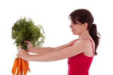 Free Young Woman With Vegetables Royalty Free Stock Image - 20594746