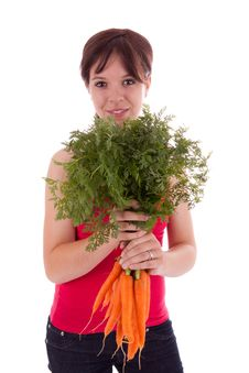 Young Woman With Vegetables Stock Photography