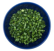 Diced Green Onions In Bowl Royalty Free Stock Images