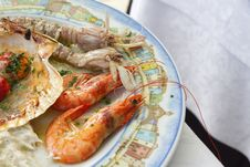 Plate With Seafood Royalty Free Stock Photography
