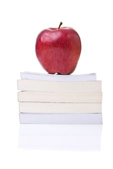 Free Red Apple On The Top Of A Stack Of Books Royalty Free Stock Photo - 20598255