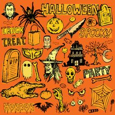 Free Halloween Doodles Royalty Free Stock Images - 20598459