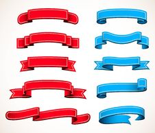 Collection Of Red And Blue Ribbons Royalty Free Stock Photography