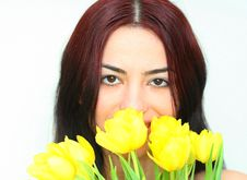 Free Oriental Girl With Tulips Royalty Free Stock Photography - 2060627