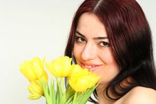 Free Oriental Girl With Flowers Stock Photo - 2060640