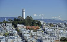 Free Coit Tower And The Bay Bridge Stock Photo - 2061170