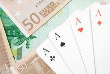 Free Four Aces On Banknotes Royalty Free Stock Photography - 2062877