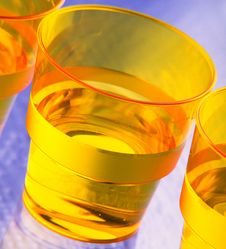 Free Three Plastic Disposable Glasses With Water Stock Image - 2062891