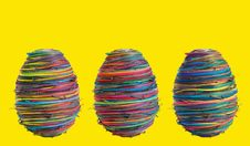 Three Eggs On Yellow Royalty Free Stock Images