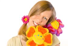 Free Girl With Flowers Stock Photo - 2067020