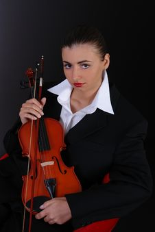 Free Portrait Of Beauty Woman With Violin Royalty Free Stock Image - 2068776