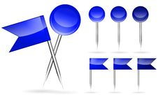 Free Blue Flag And Round Pins Royalty Free Stock Images - 20600879