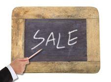 Sale Written On Blackboard Stock Photo