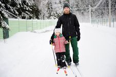 Free Young Father And Daughter Do Nordic Skiing Stock Photography - 20602982