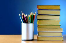Pencils And Books Are On The Table Royalty Free Stock Images