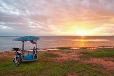 Motorbike On Sunset Background (HDR) Royalty Free Stock Photo