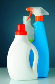 Free Bottle Of Detergent On A Blue Background Royalty Free Stock Photos - 20604598