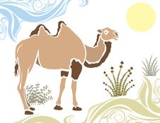 Free Camel In Desert Stencil Stock Photos - 20606653