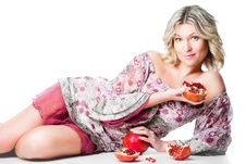 Free Blonde Woman With Pomegranates Lying On Isolated W Royalty Free Stock Photo - 20607045