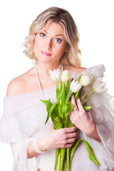 Free Beautiful Woman With Spring Tulips On White Royalty Free Stock Photo - 20607125