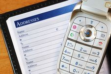 Free Cellular Phone With An Address Book Stock Image - 20608651
