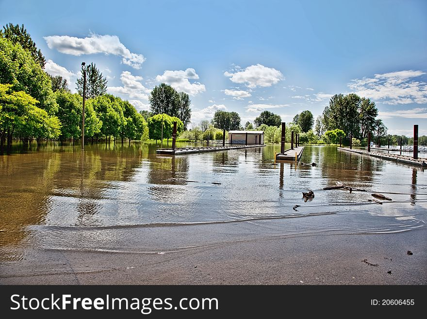 Flooded boat launch