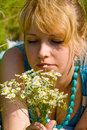 Free Girl With Camomile Flowers Stock Images - 20610024