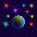 Free Earth And Firework Royalty Free Stock Photos - 20612098
