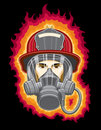Free Firefighter With Mask And Flames Stock Photos - 20619393