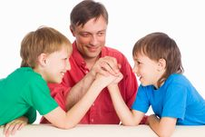 Dad With Sons Royalty Free Stock Image
