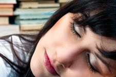 Girl In Library Sleeping Royalty Free Stock Images