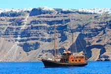 Free Boat At Santorini Island Stock Images - 20611204