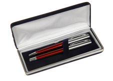 Two Pens In Black Velvet Box Stock Photos