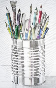 Pencils Case Stock Photography