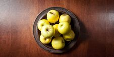 Free Golden Delicious Apples On A Table Above Royalty Free Stock Photos - 20613268