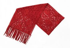 Free Red Wool Scarf With Filigree Design Stock Photo - 20615280