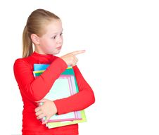Free Child With A Stack Of Notebooks Stock Image - 20616851