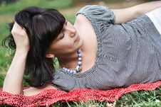 Free Attractive Girl, Lying On A Grass Royalty Free Stock Photo - 20617055