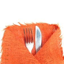 Knife, Fork And A Napkin On White Royalty Free Stock Image
