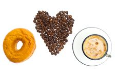 Cappuccino, Donut, Brown Sugar And Coffee Beans Royalty Free Stock Image