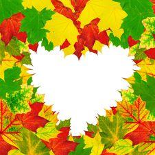 Free Heart Shape Autumn Leaves Frame Stock Photo - 20618490