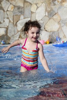 Free Small Girl Is Playing In The Swimming Pool Royalty Free Stock Photography - 20618887