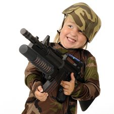 Free Delighted With Toy Machine Gun Stock Images - 20619394