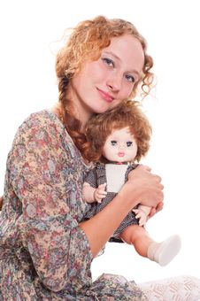 Girl With A Doll Royalty Free Stock Image