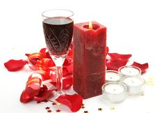 Free Wine And Candles Royalty Free Stock Photos - 20619898