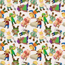 Cartoon Animal Worker Seamless Pattern Stock Image